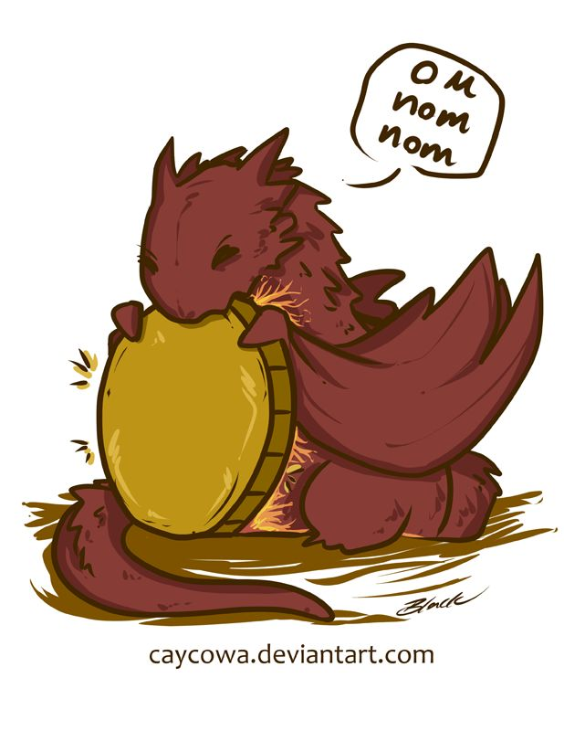 The Hobbit - Chibi Smaug On Nom Nom by caycowa on DeviantArt----it's a baby Smaug! Who wouldn't pin a baby Smaug!?!?