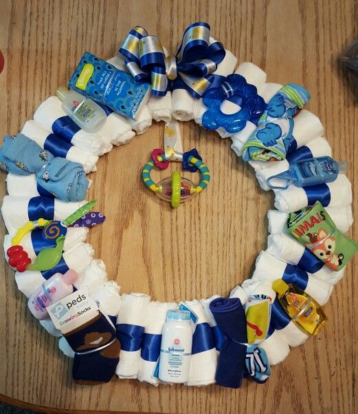 Baby boy diaper wreath for baby shower