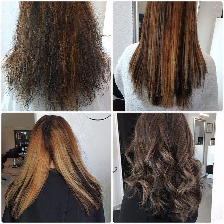 HairStylist  Primeira fase: foto 1 - Antes do alisamento já com a lavagem do shampoo (cabelo ao natural), foto 2 - pós-alisamento (no dia)  Segunda fase: foto 3 - (passado 48h) lavagem mais secagem ao natural para correcção de cor, foto 4 - pós-correcção de cor em degradê  By Bruna Fortunato HairStylist  https://www.bonadea.pt/hairstylist/
