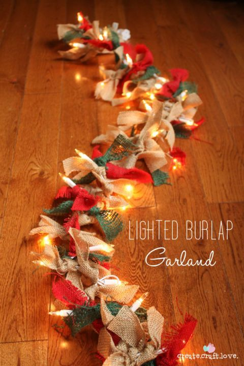 Bring the spirit of Christmas into your home with this festive garland made from red, green, and natural burlap ribbon and white mini lights.  Get the tutorial at Create Craft Love.