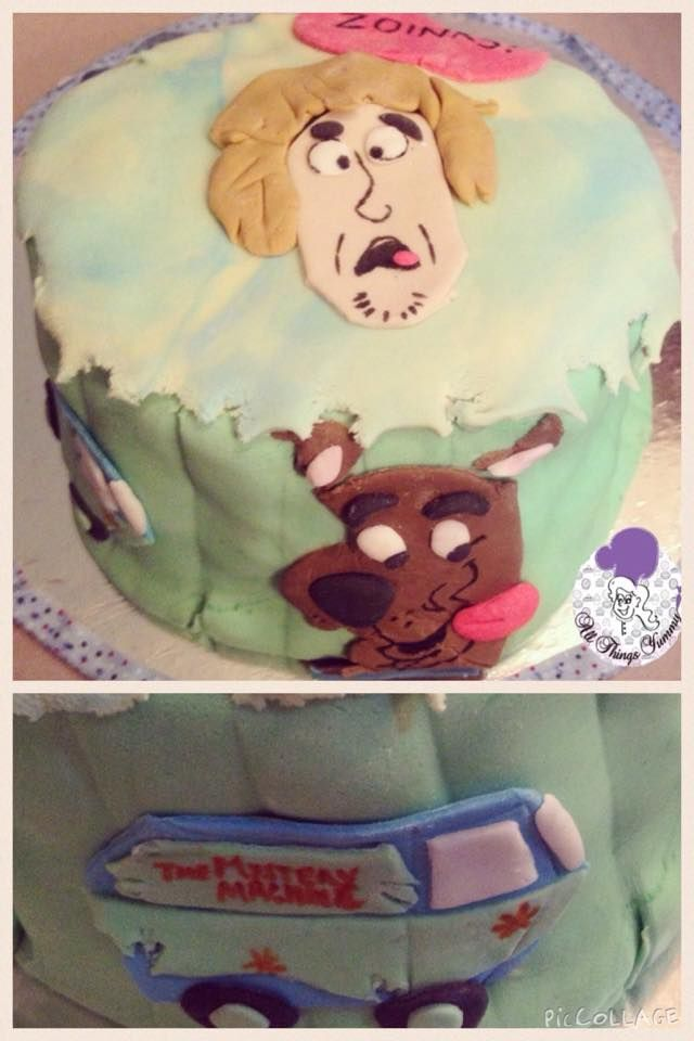 Cartoon Cakes - Mint Fondant Cartoon Cake with Scooby Doo, Shaggy and Mystery Machine | All Things Yummy #allthingsyummy #cartoon #cakes #scoobydoo #mysterymachine #fondant