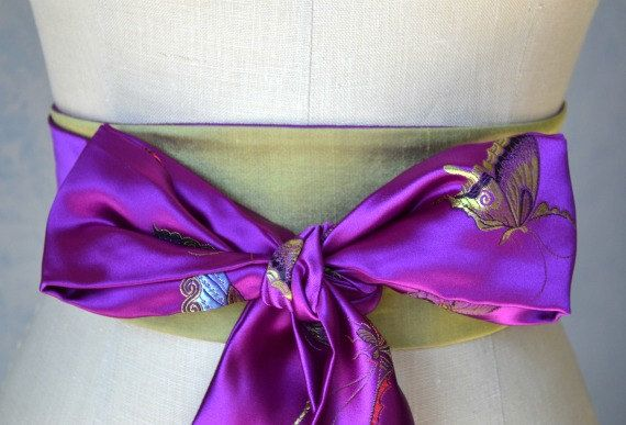 Violet purple Obi belt sash reversible. It's official, I'm