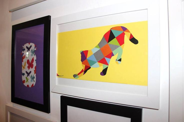 Colourful hunting cat; triangle collage by CutOutsProductDesign on Etsy