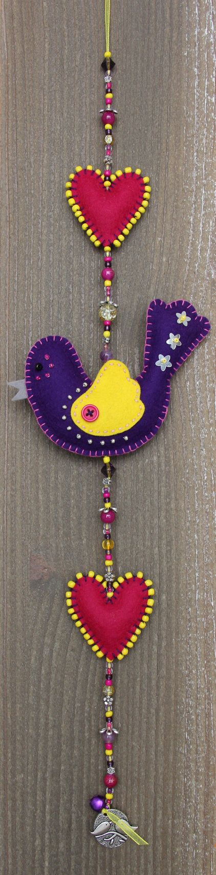 Felt bird decoration Purple and yellow Luckybird door StudioSimone, €20.00