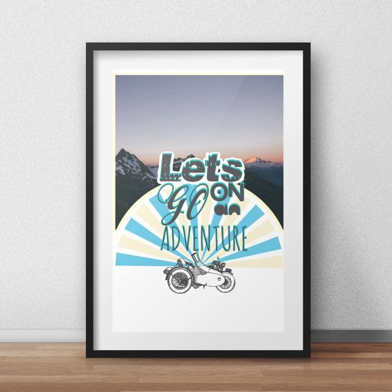 Let's Go On An Adventure Vintage Retro Digital Download Poster Print The Hobbit Lord Of the Rings Fan Art Prints Wall Art Vintage Car Color
