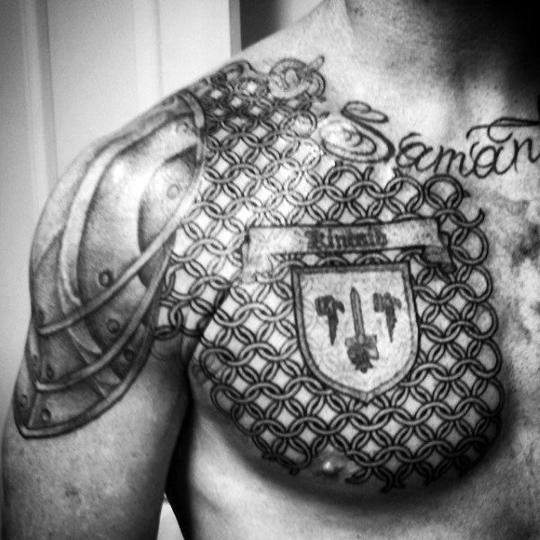 Chest Armor Of God Tattoos For Men