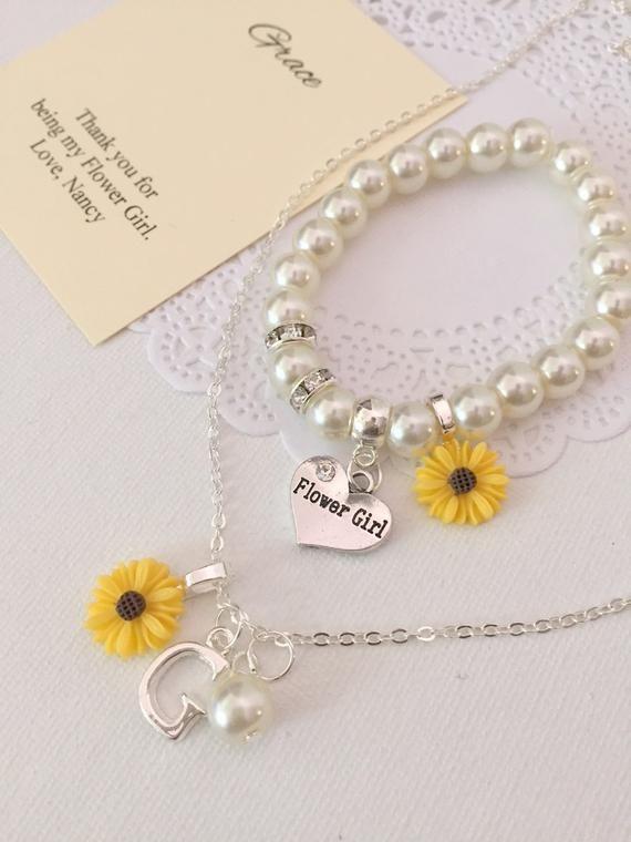Sunflower, sun flower, NECKLACE and BRACELET set, kids, flower girl, flowergirl….   – Wedding❤