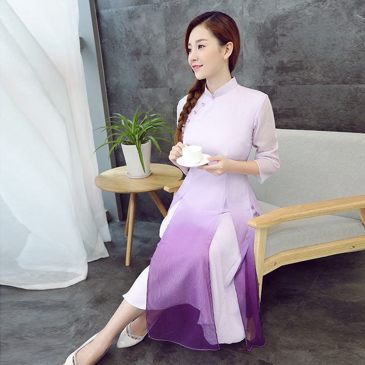 Charming Gradient Color Qipao Cheongsam Dress - Purple - Qipao Cheongsam &…
