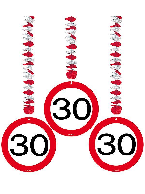 Rotorspiralen 30 jaar verkeersborden 3 stuks. Feestelijke decoratie voor een 30e verjaardag of jubileum. U ontvangt drie stuks van deze stopbord rotorspiralen.