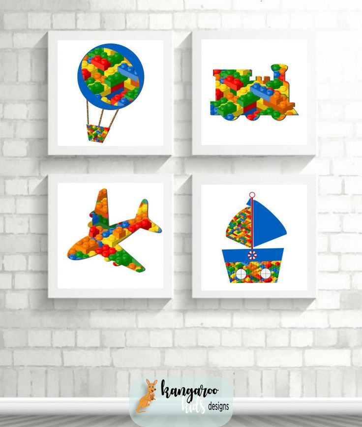 Lego Wall Art, Lego Art, Lego Prints, Lego Nursery Art, Lego Bedroom, Name Pictures, Plane Train Hot Air Balloon Boat Boy Art by KangarooKidsDesigns on Etsy