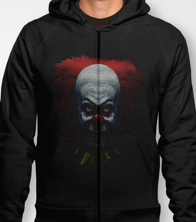 """PENNYWISE!"" men's and women's fitted T's and Hoodies in various colours and sizes available at Society6! HOODIES $38 FITTED T's $22"