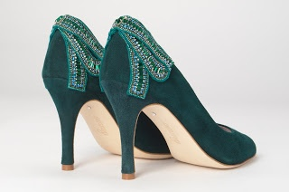 "Pippa's ""Emerald Poppy"" shoes by Emmy Shoes (UK), worn December 13, 2012 to the Vicomte A shop opening in London"