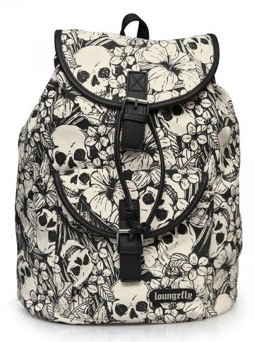 """Floral Skull"" Backpack by Loungefly (White/Black) #inkedshop #flowers #skulls #backpack #bag #cute #fashion"