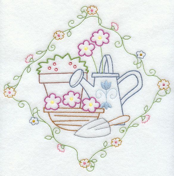 Watering Can and Flowers (Vintage)