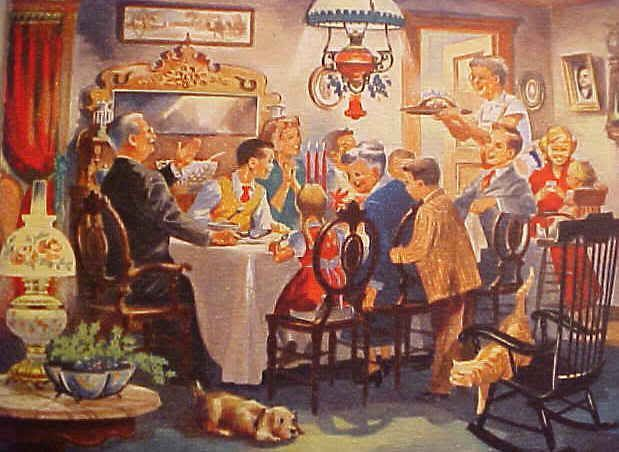 Christmas Dinner  1940s-1950s Boys are Dressed in Suit and/or Wearing Ties