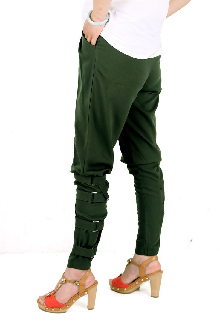 Preself New Fall Arrival Women's Fashion Design Loose Trousers Pants Korea Style Army Green Unique