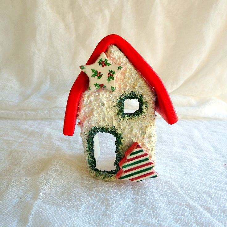 Mistletoe candle holder Christmas miniature house fairytale decoration ceramic house pottery house cottage chic decor by kosmobysoul on Etsy