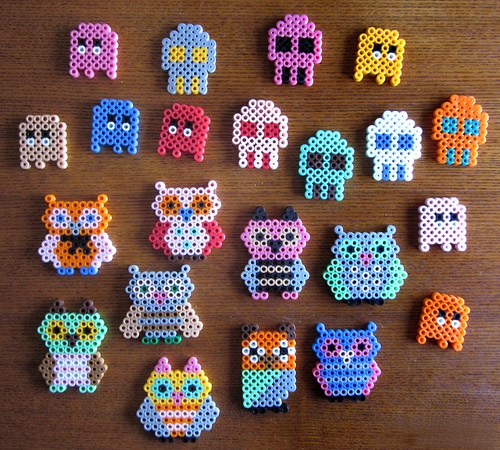 I have a million of these perler/hama beads - these would look cute.