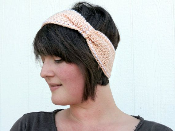 Crochet Peach and White Embroidered Ear Warmer by UnfadingLouise, $15.00