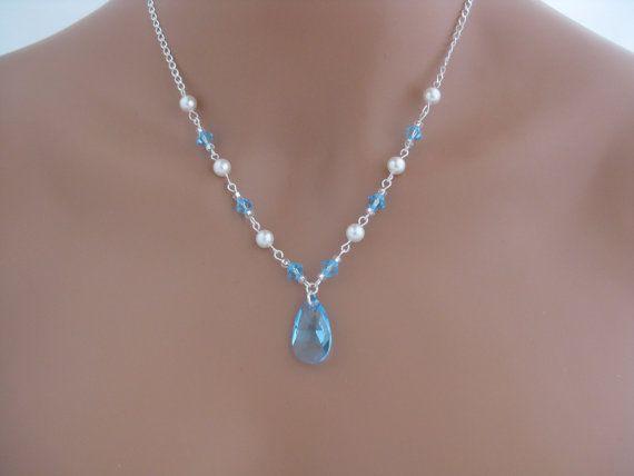 Wedding Jewelry - blue - aquamarine swarovski crystal and pearl necklace via Etsy