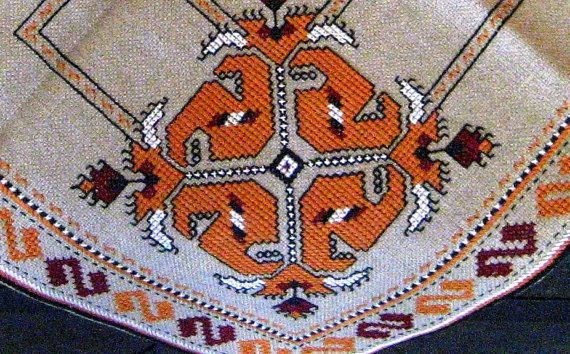 Authentic handmade embroidery linen orange pattern tablecloth $32