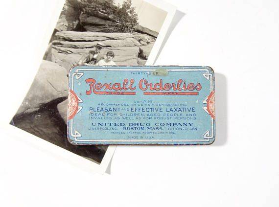 Vintage Medicine Tin / 1910s Rexall Orderlies Laxative Advertising Tin / Vintage Oddities