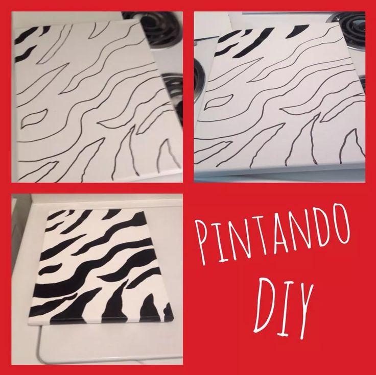 Paso a paso un cuadro canvas blanco pintado con diseños de zebra en pintura acrílica negra.