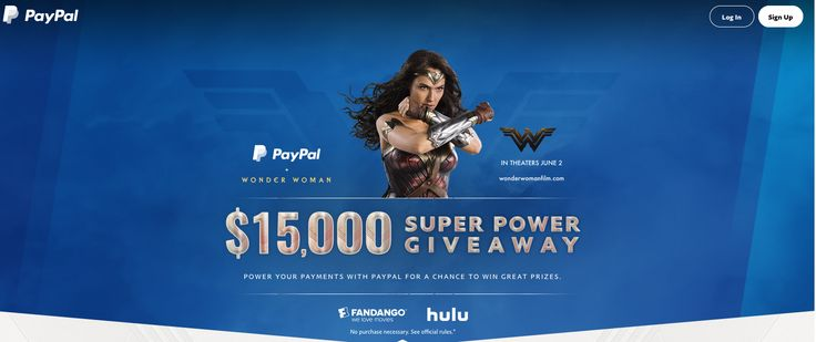 #NewMembers Bonus Join #PayPal and receive $5 after you make your 1st purchase! at https://www.paypal.com/us/invite?token=JhPBPWofFic Offer valid for #USA Only-Offered for a #LimitedTime ★PAYPAL #WONDERWOMAN #SWEEPSTAKES Use PayPal by 7/31/17 with Fandango, Hulu or to spend money with a digital greeting** to earn an entry and a chance to win. ★1 Grand Prize of $15,000 in #PaypalCash transfered to your acct. ★10 Second Prizes: $100 #Hulu gift cards ★Third prizes - #Fandango Promotional Code…