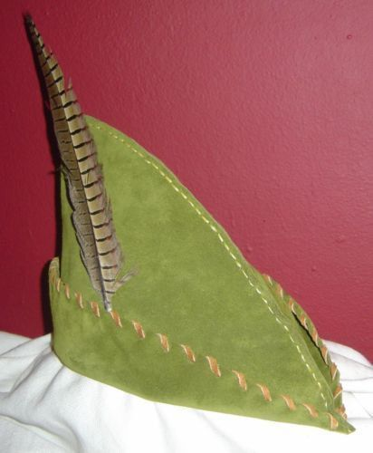 Robin Hood Hat & Pouch - Moss Green Suede, Caramel Trim. $35.00, via Etsy.
