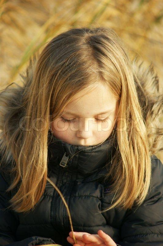 Autumn blaavandshuk thoughtful girl in dunes | Stock Photo | Colourbox on Colourbox