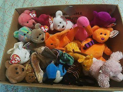 Lot of 16 Various Rare Beanie Babies Retired Peace, Goldie, Twigs, Rocket, Swoop