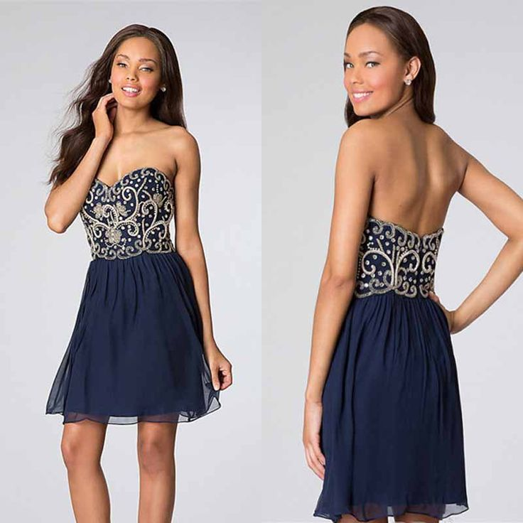 Under US$100 Free Shipping 2014 A Line Blue Chiffon Beads Short Cheapest Homecoming Dresses for Teenagers $89.99