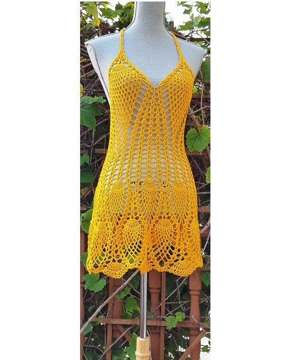 Easy Breeze halter Dress / Scalloped hemline / Crochet Beachwear / Cover up / Size US 4 US 6/ Ready to Ship