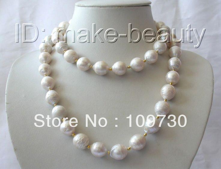 Ювелирные изделия 00596 долго большой 15 мм барокко белый кеши возрождается пресноводные жемчужные ожерелья 14 К
