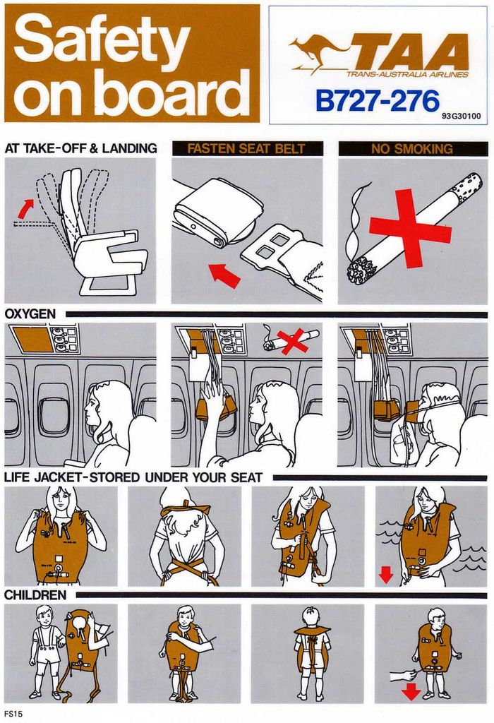 Trans Australian Airlines Boeing 727-276 Safety On Board Card