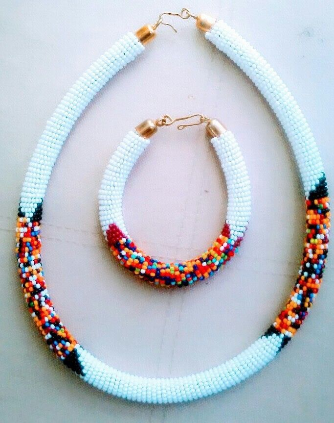 6ec211524d2c73 Maasai Kenya African Jewelry Rope Beaded necklace-yellow ...