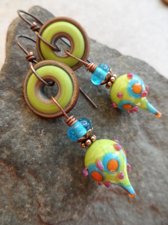 artisanmade lampwork and copper wirewrapped bright boho abstract earrings