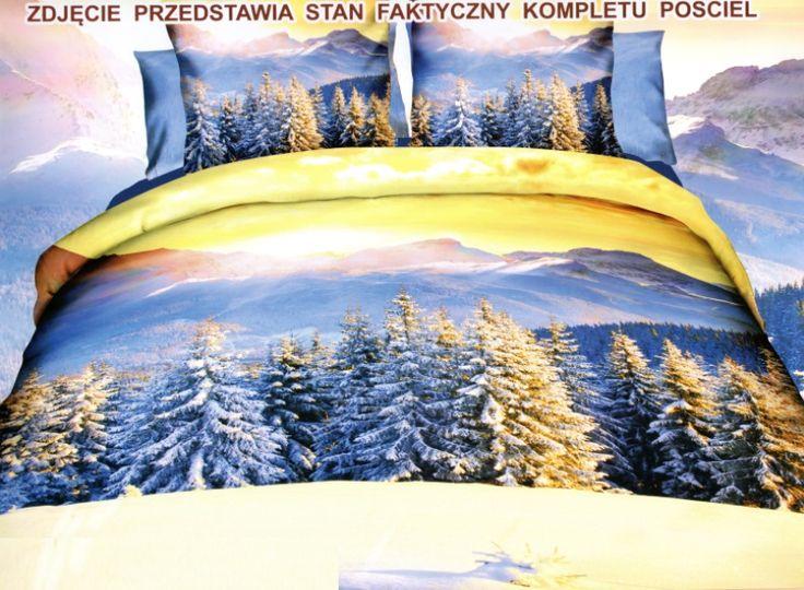 Super modna niebiesko żółta pościel z zimowym lasem