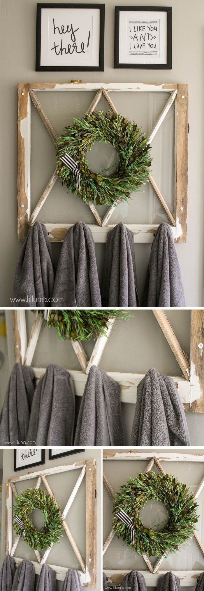 DIY Vintage Window Towel Holder