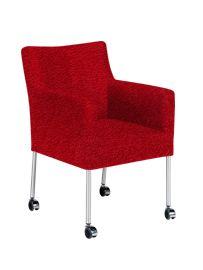 Eetkamerstoel Ponti | Moderne designstoel met RVS poten op wielen. Heerlijk tafelen in deze fauteuil van zeer goede kwaliteit. De stoelen worden in Nederland gemaakt door vakbekwame medewerkers en voorzien van hoogwaardige materialen. De wieltjes zijn geschikt voor iedere vloer. In zeer veel verschillende stoffen, kleuren en leersoorten te bekleden. In iedere stof of leersoort krijgt deze stoel weer een andere uitstraling. Kom proefzitten