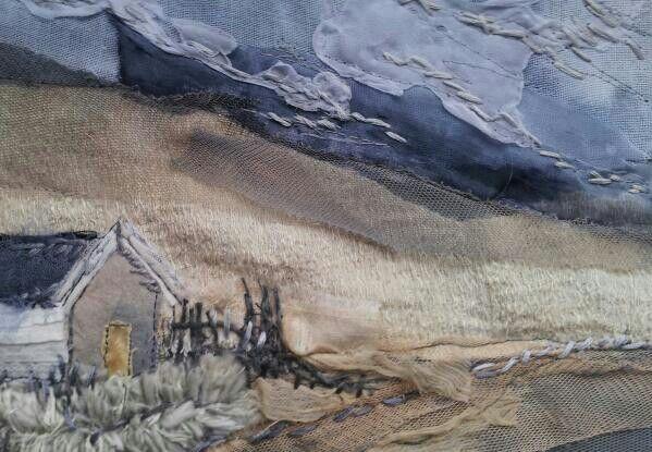 Bamburgh beach hut #textile art # embroidery #collage