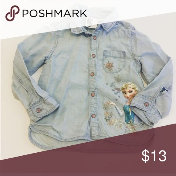 Girls denim H&M Frozen shirt Great condition. Worn once. Size is 1.5-2yrs. H&M fit. H&M Shirts & Tops Button Down Shirts