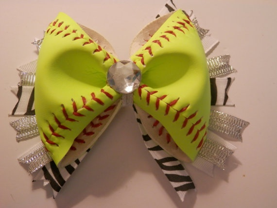 Softball Hair Bow Real Softball All Yellow On Etsy