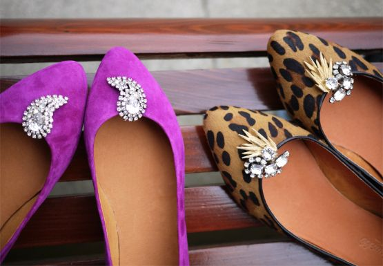 DIY Shoe Clips. Good idea to use clip on earrings to dress up shoes!