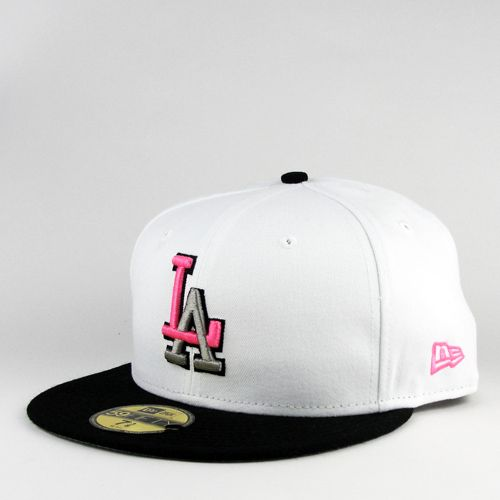 LA Dodgers Hat | ... Era Cap Los Angeles Dodgers White Neon Pink New Era 59fifty Fitted Hat