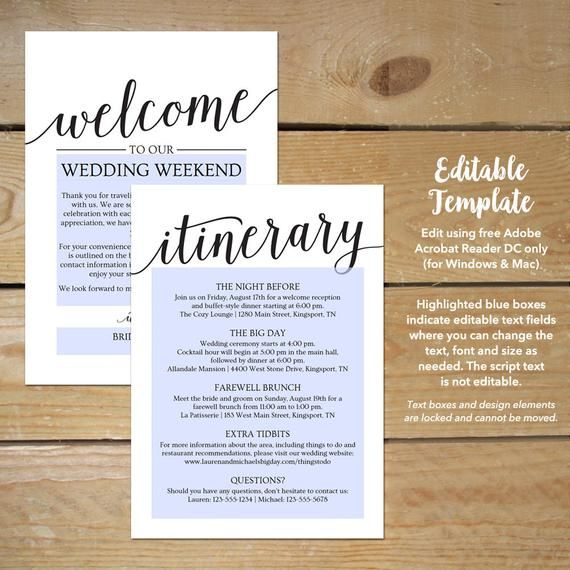 Pin On Wedding Itinerary Template