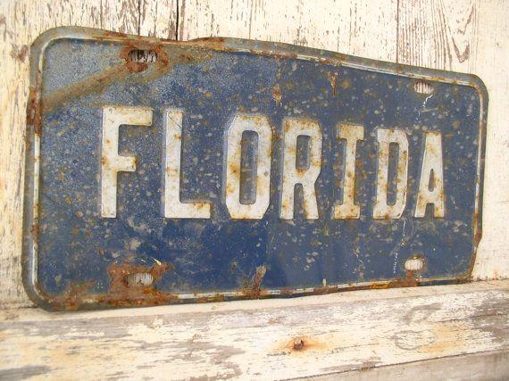 Vintage Florida License Plate Souvenir Metal Sign by vintage541, $12.00