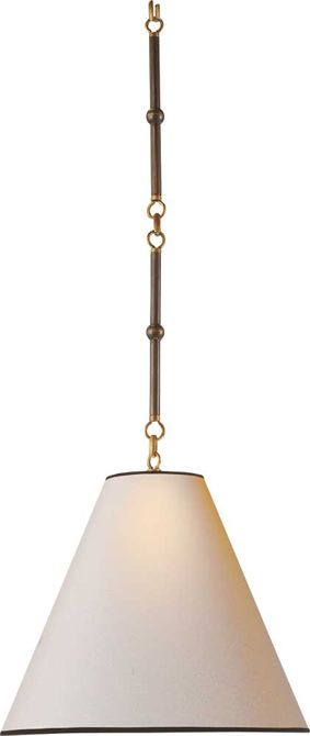 """SMALL GOODMAN HANGING LAMP small goodman hanging lamp item # TOB5090   designer Thomas O'Brien  OVERVIEWCHECK STOCK Height: 36"""" * Width: 15"""" Canopy: 5 1/4"""" Round  Shade: 4 3/4"""" x 15"""" x 12 3/4"""" Wattage: 1 - 100 Watt Type A Socket: Keyless  Note: Antique White Metal Shade has Hand-Rubbed Antique Brass finish on inside.            All other metal shades are white on the inside of shade. Note: Item ships with two 11"""" stems of chain for a total of 22"""""""