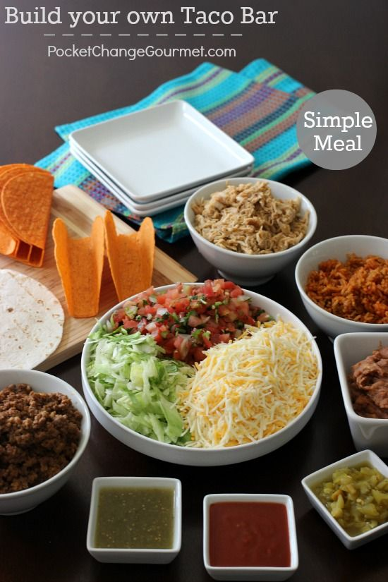 Simple meal time idea,taco bar on PocketChangeGourmet