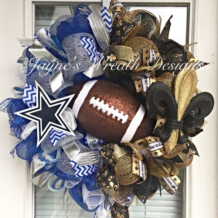 House Divided Dallas Cowboys/ New Orleans Saints Football Wreath by Jayne's Wreath Designs on fb and Instagram